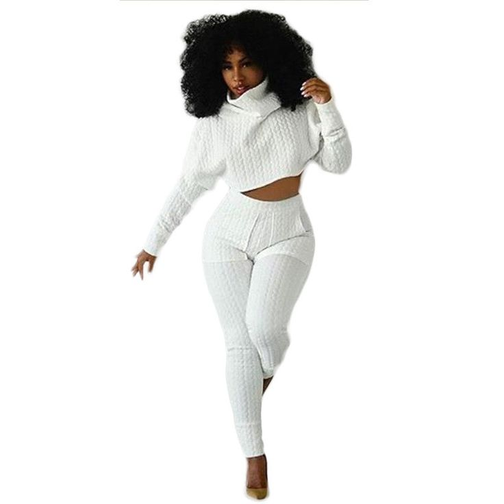 New Style Rompers Bodycon Womens Jumpsuit Turtlenecks Long Sleeve Two pieces outfits White Overalls Crop Top and Long Pants