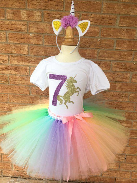 d7d9c2a86bee Seventh unicorn birthday outfit, 7th Birthday tutu, rainbow unicorn,  Birthday, 7 years old shirt, gi
