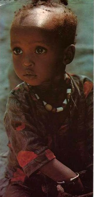 Africa | Little girl in Dakar. Senegal. | Scanned postcard; photographer Michel Renaudeau