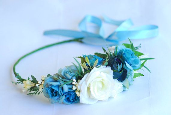Blue floral crown Flower headband Blue and white flower crown Floral hair wreath Bridal floral crown bohemian flower crown Headband n my shop you can buy and order hair accessories, floral wreaths, wedding wreaths, barrettes, tiaras for yourself and your daughter. Beautiful floral