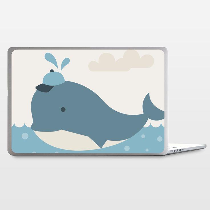 Fun Indie Art from BoomBoomPrints.com! https://www.boomboomprints.com/Product/Texnotropio/Baby_Boy_Whale/Laptop_Skins/15_Laptop_Skin/