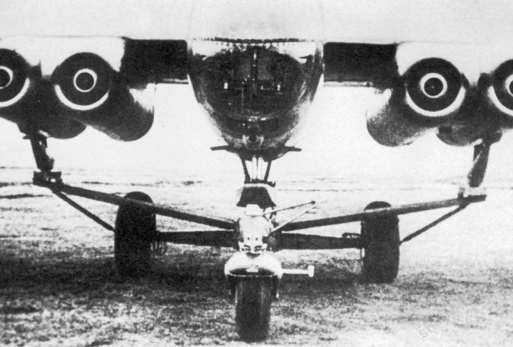 Aclose-up of the take-off trolley attached to Arado Ar 234 V8, W.Nr. 130008, GK+IY.