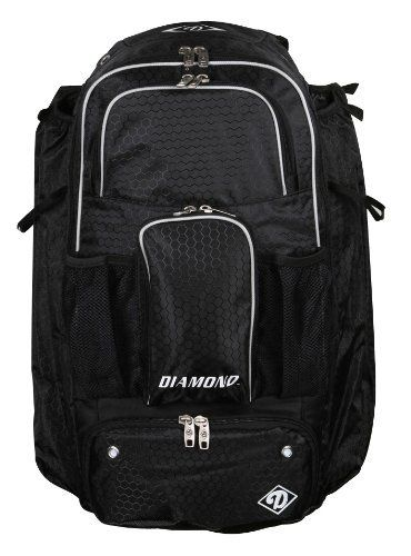 Diamond iX3 Baseball Bat Backpack (Black) by Diamond Sports. Save 11 Off!. $65.95. Diamond's Backpack iX3 black holds up to 4 bats securely in side sleeves that has an elastic pull-tab on the top of the sleeve. It has 2 mesh water bottle pockets and 2 batting glove straps. Includes a secure MP3 player pouch and an expandable bottom zippered cleat compartment. Ergonomic comfort padding for back support. Extra large fence clip to easily hang on a fence.