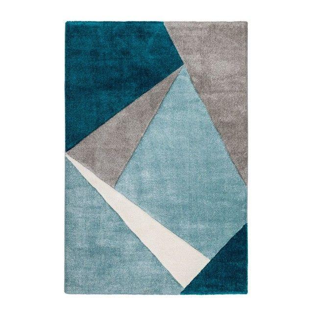 Tapis géométrique pour salon bleu océan moderne Viki DELADECO ...