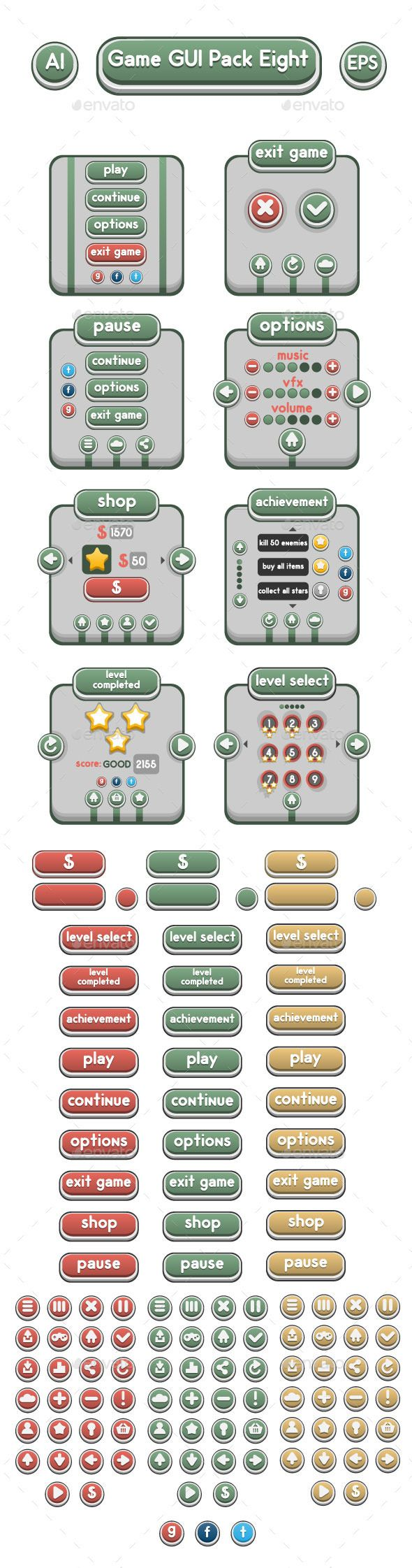 Game GUI Pack Eight (User Interfaces)