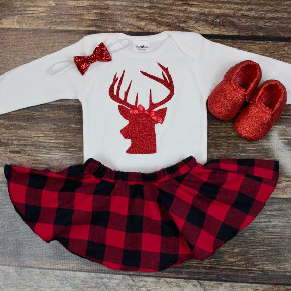 Girls Christmas Outfit | Red Glitter Deer With Top Red and Black Buffalo Plaid Twirl Skirt | Complete Baby or Toddler Christmas Dress by OliveLovesApple