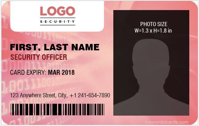Security Guard Id Cards Download At Http Mswordidcards Com 4 Best Security Guard Id Card Templates Id Card Template Word Template Badge Template