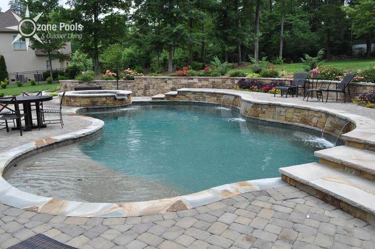 retaining wall pool | Freeform Pool & Spa with Stone Retaining Wall