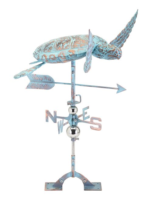 The Elliot Tortoise Weathervane is made out of solid stainless steel and has been highlighted with a golden bronze and verdigris finish.