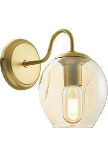 Arandela Gold Em Metal E Vidro - 25X22 Cm