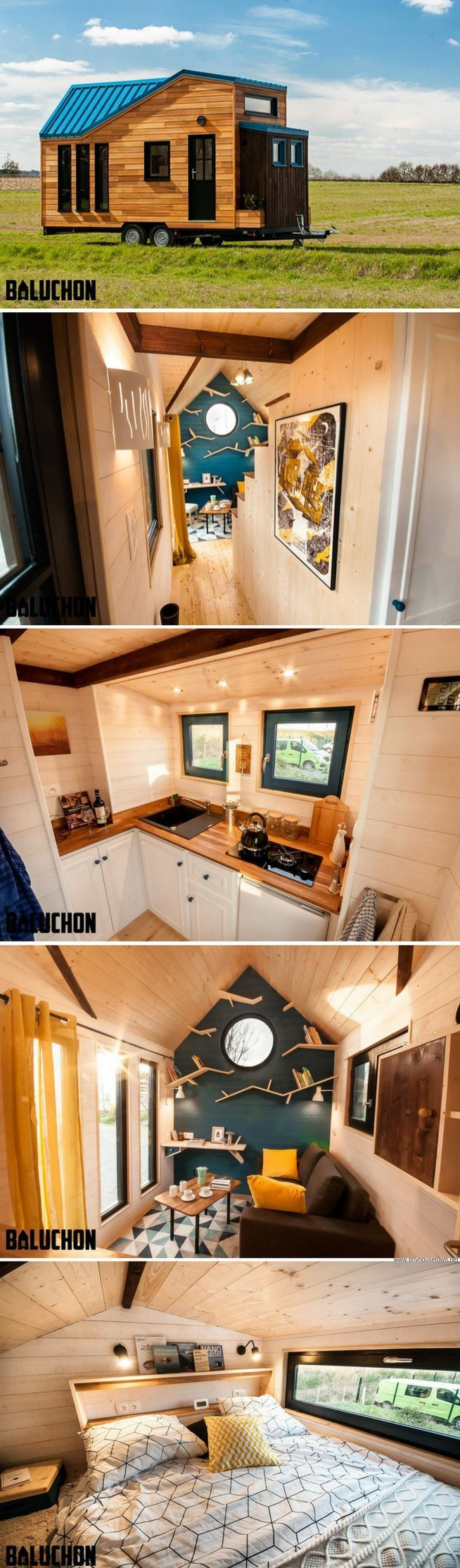 The Essen'Ciel tiny home from Baluchon// noi kirjahyllyt!!