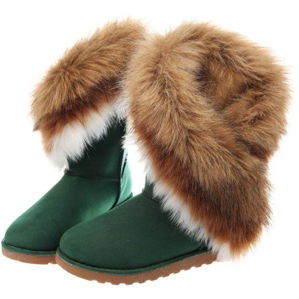 White/black/brown/blackish green; faux fur & nubuck leatherround toe; faux fur trimmedhigh top; platformslip on