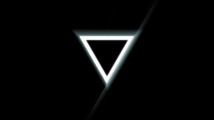 1366x768 Обои треугольник, перевернутый, черный, фон