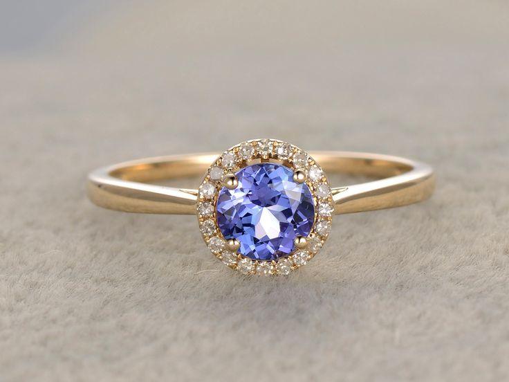 round tanzanite engagement ringvs diamond promise yellow goldhalo bridal ringwedding bandblue gemstone stone by popring on popring - Wedding Ring Vs Engagement Ring