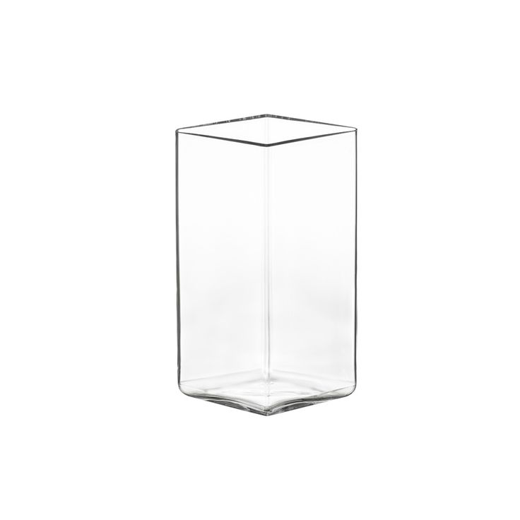 Iittala Ruutu Clear Vase 11.5x18cm. The simple shape of Ruutu vases allows owners to arrange flowers and vases in groups and encourages collecting.