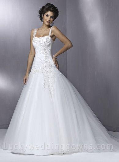Empire Square Court Trains Sleeveless Lace Wedding Dress