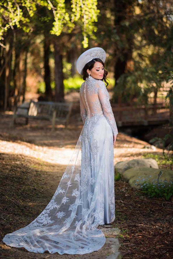 Mai & Nham | Matron of Style x Lin and Jirsa @linandjirsa | Ao Dai by Thai Nguyen @tncollections | Beautiful silver lace Vietnamese traditional wedding dress