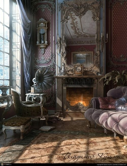 Victorian interior - love love love. Can imagine HBC and Tim Burton serving absinthe to Johnny Depp in here.