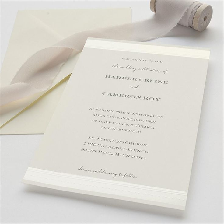 Simple Ivory Stripes u0026 Dots Wedding Invitation