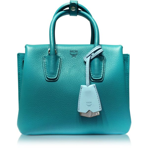 MCM Handbags Milla Park Avenue Oasis Green Leather Mini Tote ($805) ❤ liked on Polyvore featuring bags, handbags, tote bags, leather man bags, blue leather purse, handbags totes, leather tote handbags and genuine leather tote