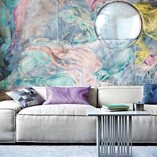 mural pastel: Interior Design, Idea, Living Rooms, Color, Wall Murals, Interiors, Livingroom, Wallpaper, Interiordesign