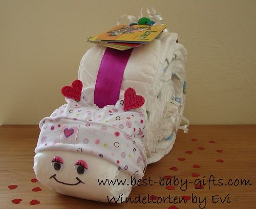 how to make a diaper cake, diaper snail, diaper bouquet and other diaper gifts - free instructions