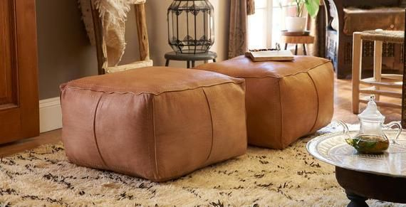 Xl Square Leather Pouf Best Quality Moroccan Leather Pouf Etsy