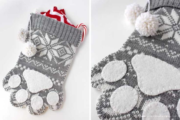 So Cute!  | Paw Stocking by Susan Crilley | 9 stocking ideas for a meaningful Christmas mantle - Think.Make.Share.