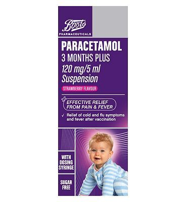 Boots Pharmaceuticals Paracetamol 3 Months Plus 8 Advantage card points. Effective relief from pain  fever. Relief of cold  flu symptoms  fever after vaccination.See details below, always read the labelSuitable for: Children aged 3 months  over http://www.MightGet.com/april-2017-1/boots-pharmaceuticals-paracetamol-3-months-plus.asp