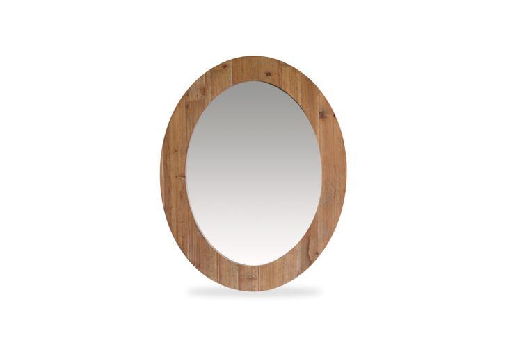 Espejo ovalado, en madera de pino reciclado. Medidas 70*4*90