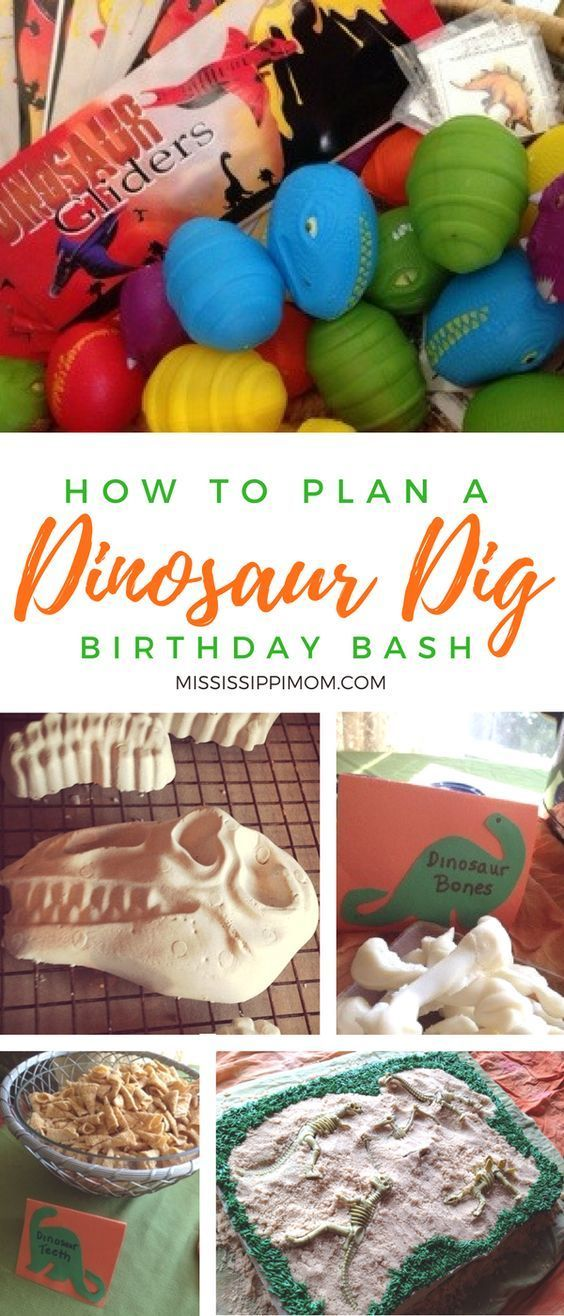 How to plan the perfect dinosaur dig birthday party!  From the perfect excavation cake to dinosaur bone molds and great favor ideas, your little dinosaur lovers will absolutely love these party ideas!
