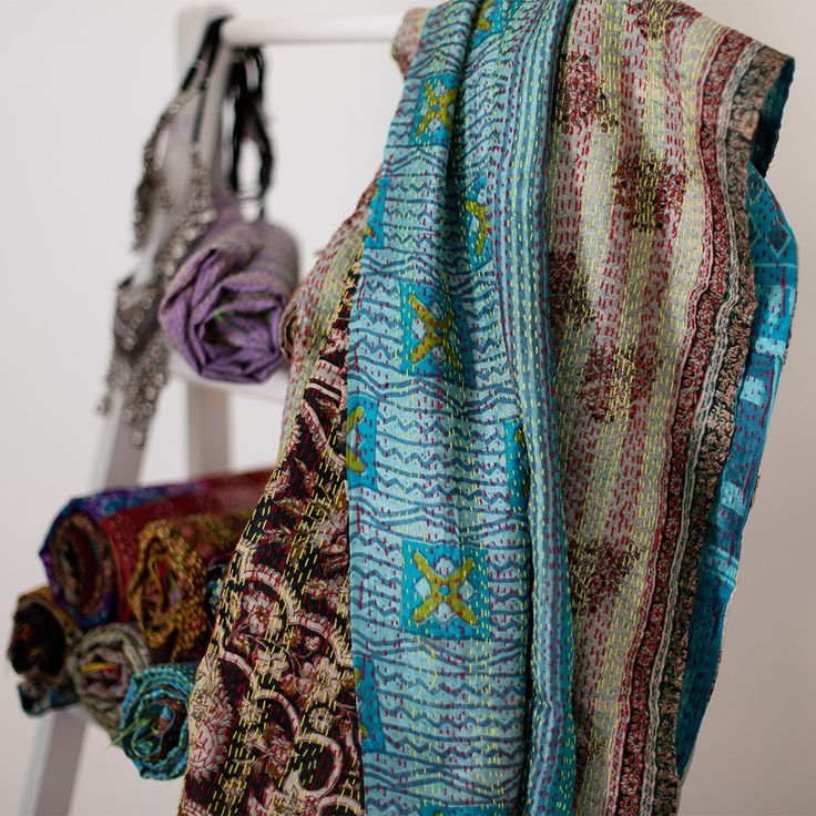 Kantha Silk Scarf 110 | The Hues of India
