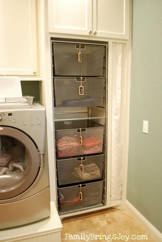 Korgar i tvättstugan till familjemedlemmarna