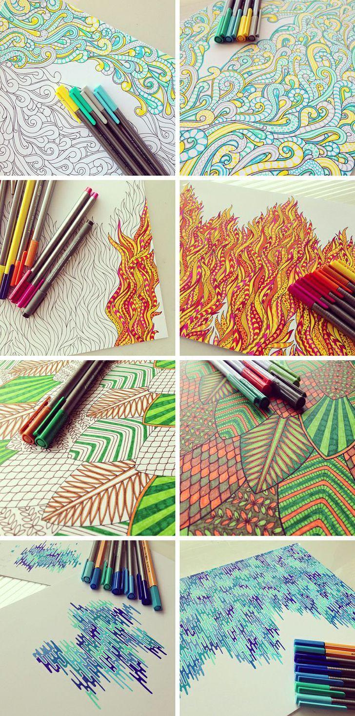 Illustratie van de elementen. Mooie lijntekeningen, krabbel kunst, pen kunst. Geweldige kinderen kunstproject / inspireren door Nikki Farquharson.