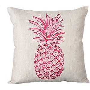 """Monkeysell Stylish Colorful cartoon Pineapple hand-painted figure linen quare Decorative Fashion Throw Pillow Cover -18""""X18"""" (S038A5)"""