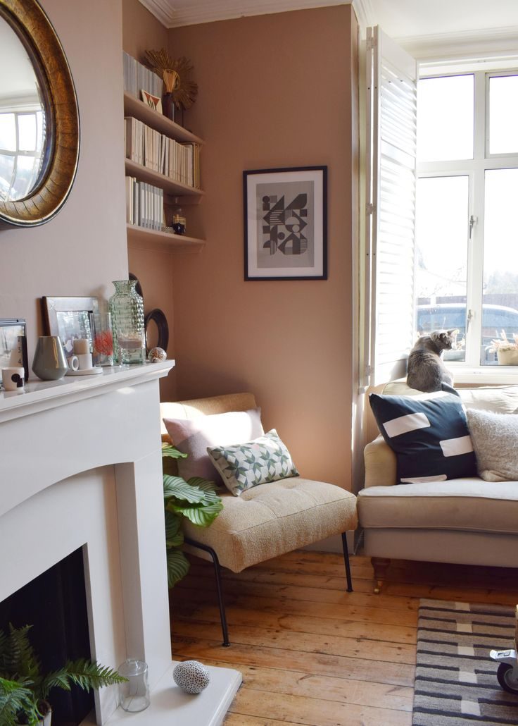 Scandinavian living room makeover muted pink neutrals - Leave you dead in the living room ...