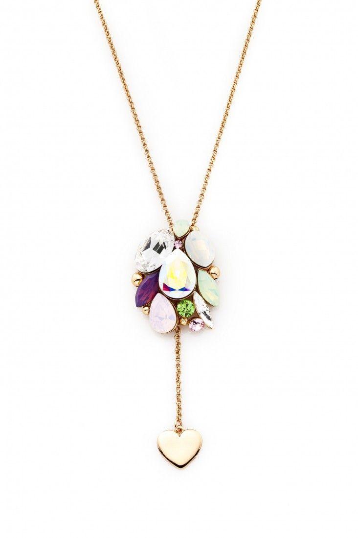 Urokliwy naszyjnik Sweetheart pozłacany 24-karatowym złotem i ozdabiany ręcznie emaliowanym sercem oraz kryształami Swarovski Crystals w eleganckich odcieniach pasteli, z fioletowym akcentem.