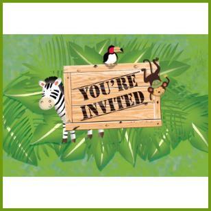 Invitations, $2.89 Cdn pkg/8 http://www.allthatstuff.net/SafariAdventure/safari-adventure-party-supplies.html