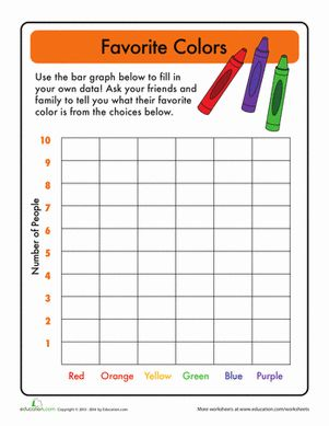 First Grade Graphing & Data Worksheets: Bar Graphs: Favorite Color