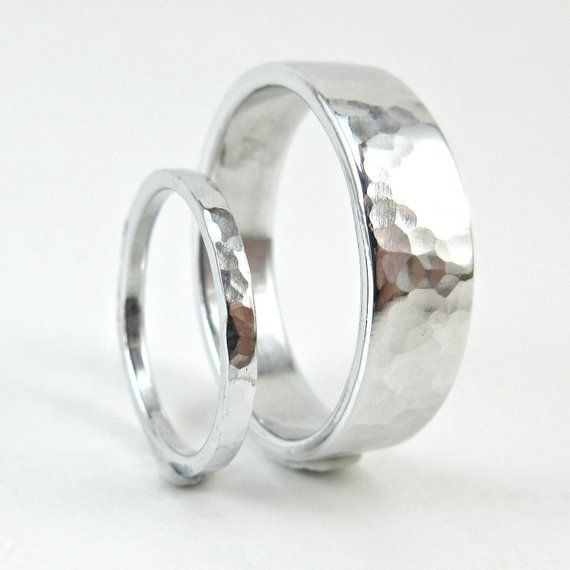 Couples Hammered Aluminum Ring Set His And Hers Wedding Bands