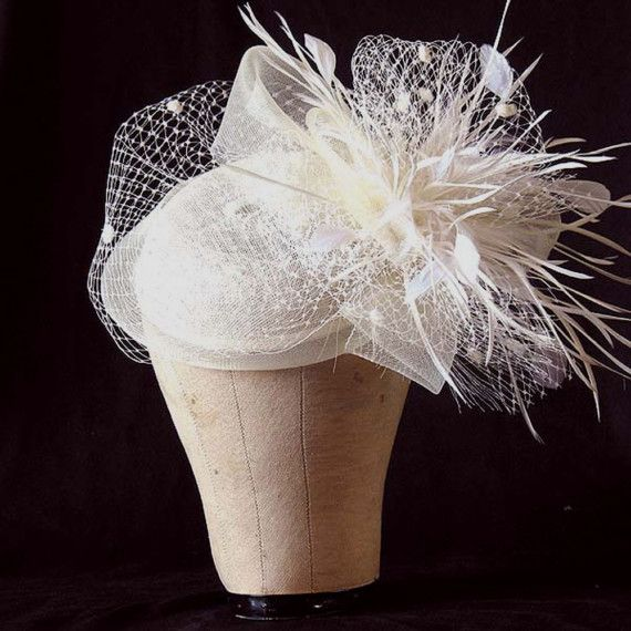 sinamay cocktail pill box hat  wedding hat  by alicehartcouture