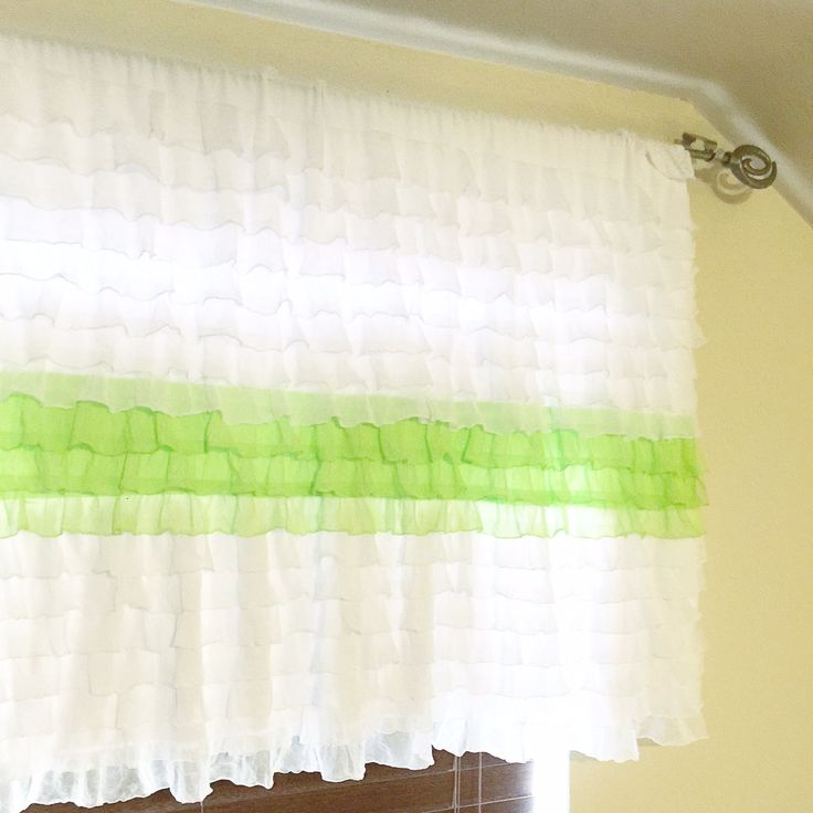 Ruffle Valance Panel, Colorblocked Lime Green and White, or You pick the Colors 20 inches