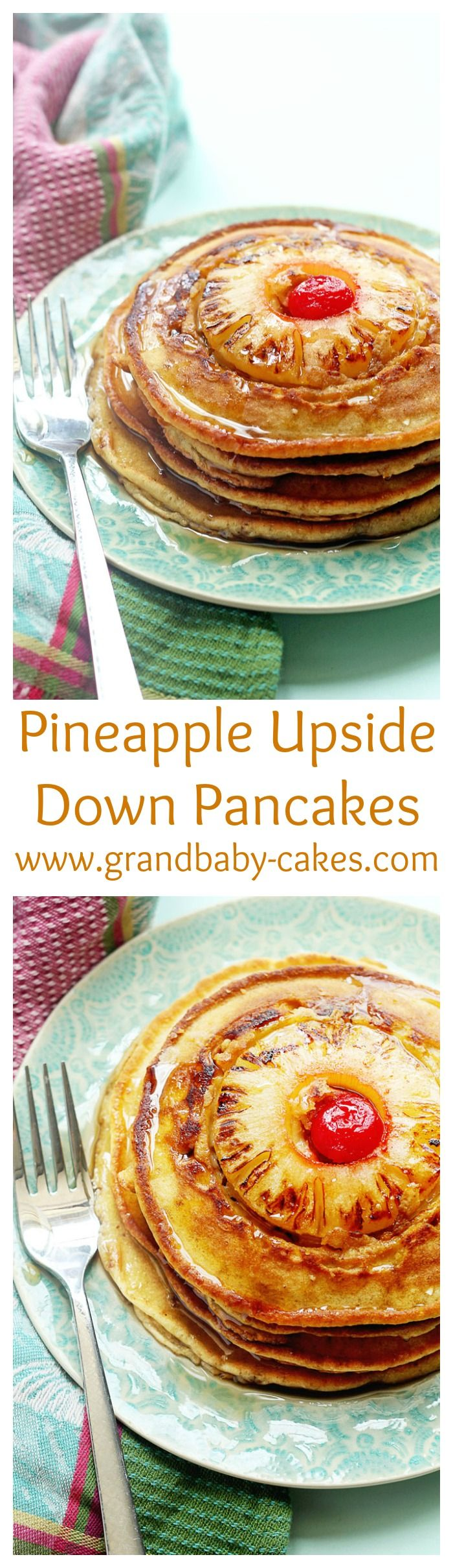 Delicious Pineapple Upside Down Pancakes! Enjoy the classic cake for BREAKFAST instead!