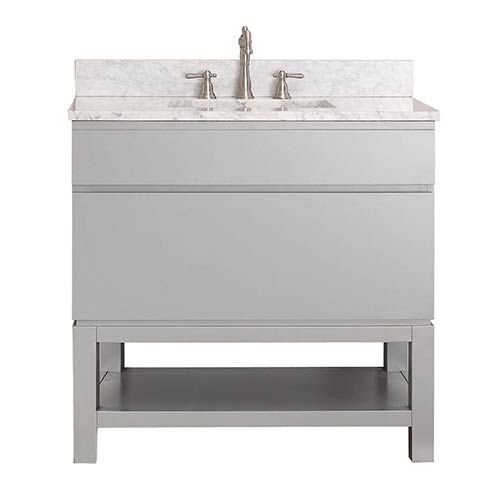 Picture Collection Website Avanity Tribeca Chilled Gray Inch Vanity Combo with Base with White Carrera Marble Top