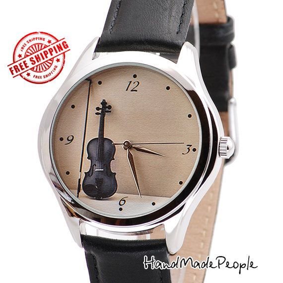 Violin Watch, Women Watches, Classic Style Womens Watch, Music Jewerly, Women Jewelry, Gifts for Her, Women Accessories - FREE SHIPPING