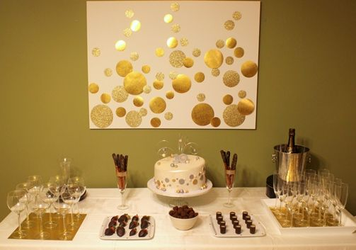 Gold party | I like this canvas for behind the bar or cookie table