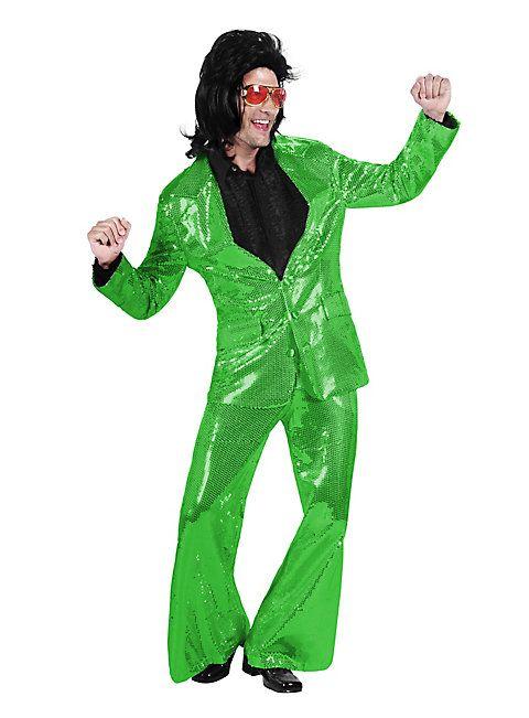 Pop singer sequin suit green costume