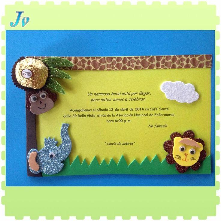 Tarjetas de invitación Baby shower safari