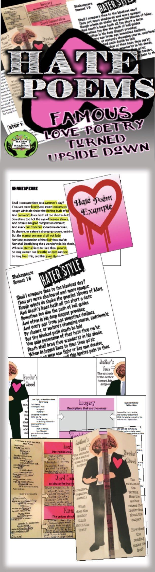 "VALENTINES DAY TURNED UPSIDE DOWN. Included in this unit are a mini-lesson on mood and tone with a foldable and comparison activity to help students focus on imagery, word connotation, and unique phrasing that develop mood and reveals author's tone. Students then pick between 11 famous love poems of varying levels of complexity to develop a unique hate poem. A ""Hate List"" word bank and specific example help students morph the standard sappy poem into a morbid masterpiece. $4.00"