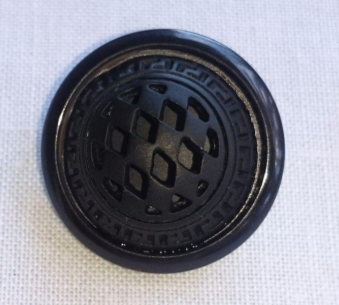 Botones de metal - Botón negro labrado. 25 mm. - hecho a mano por BOTON_DE_GALA en DaWanda